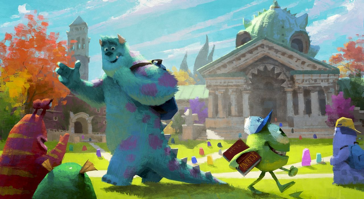 pixar planet disney monstre academy university artwork