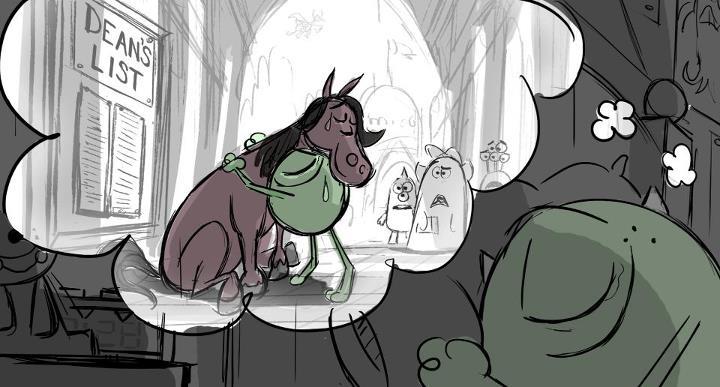 pixar planet disney monstre academy university artwork
