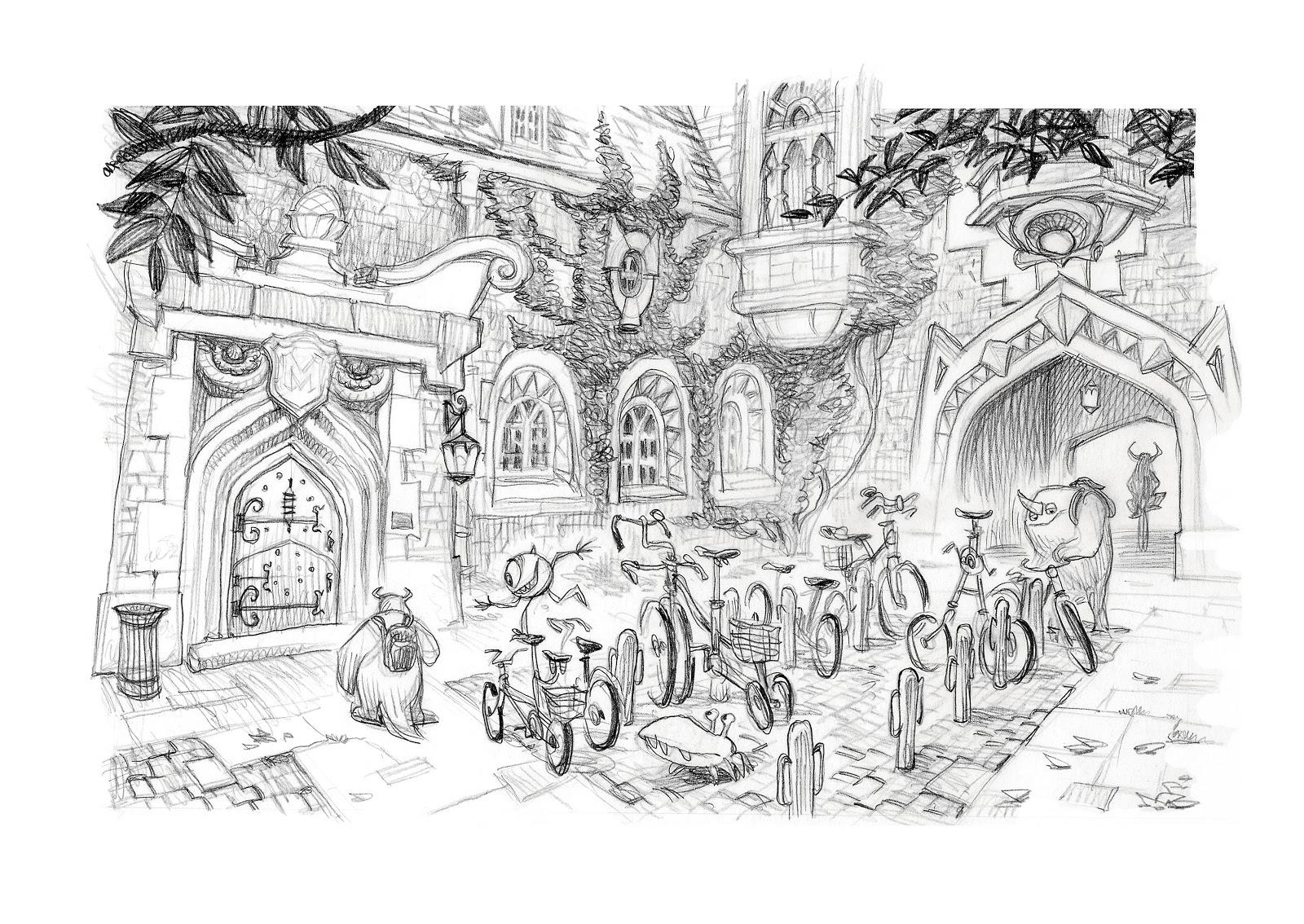 pixar disney artwork monstres academy monsters university