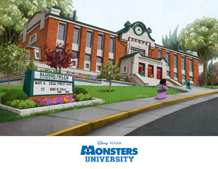 Pixar Planet Disney artwork monstres academy monsters university