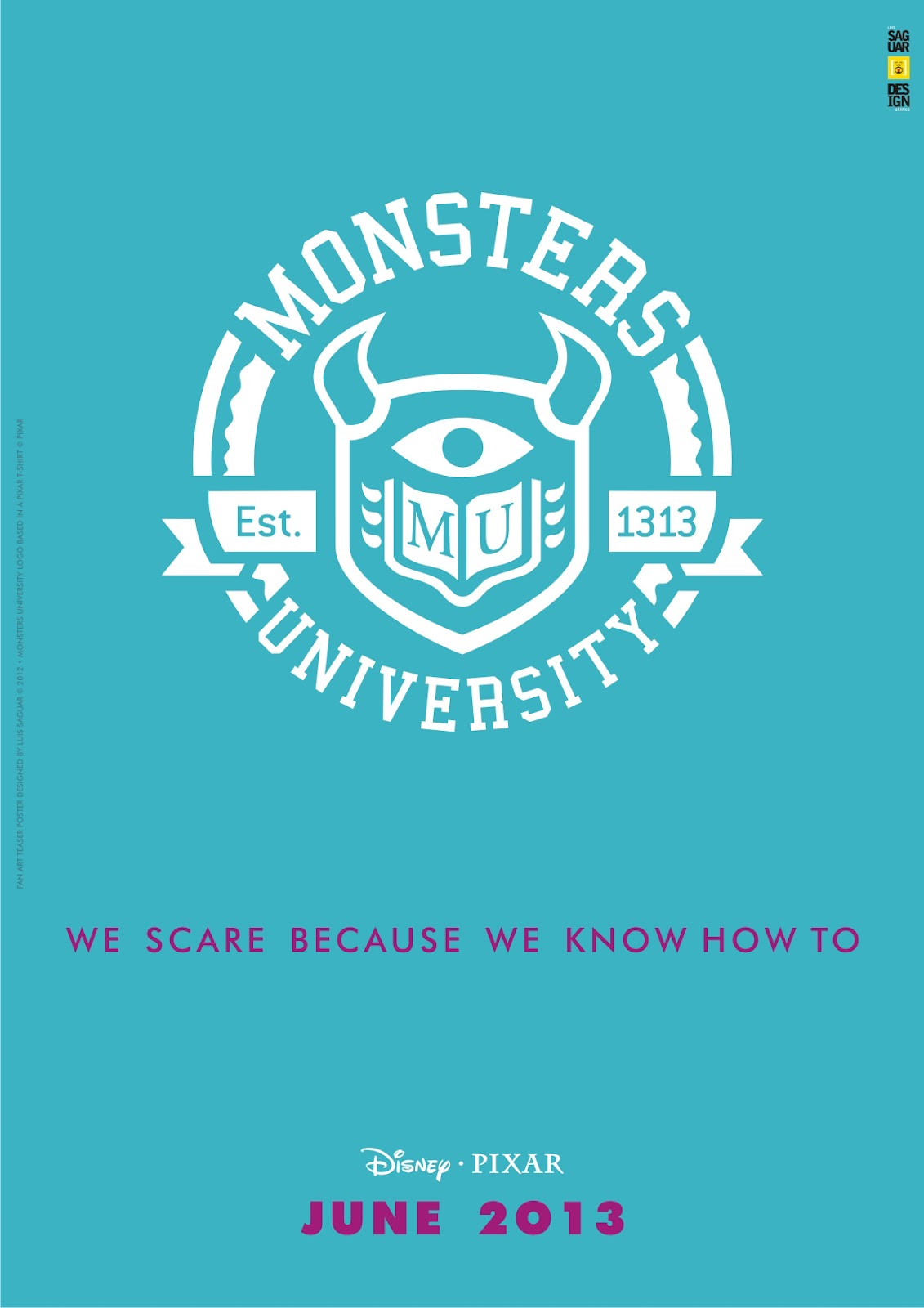 Pixar Planet Disney monstre academy university affiche fan
