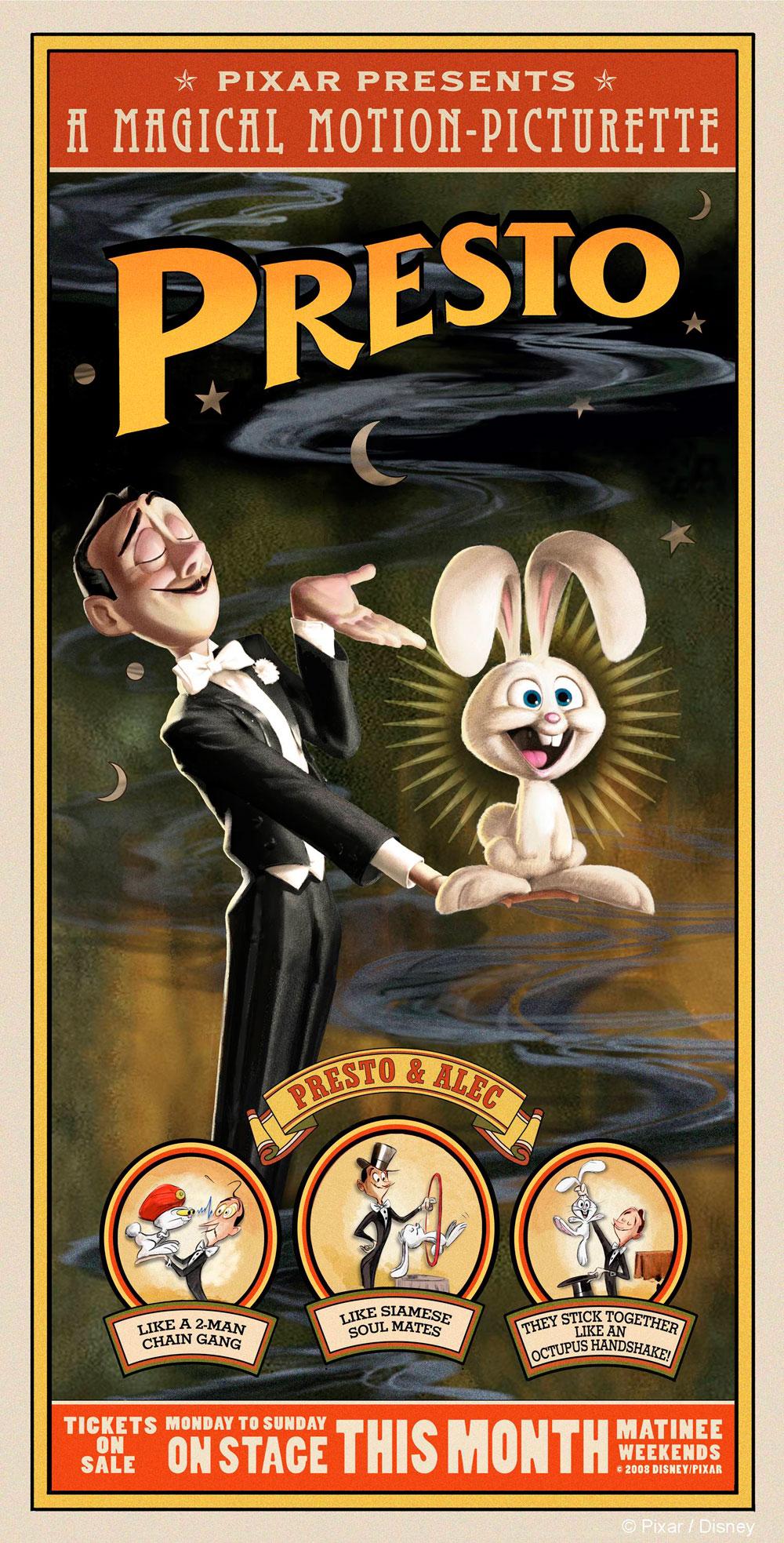 Pixar disney affiche poster presto