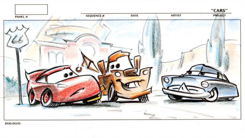 artwork cars disney pixar
