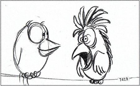 Pixar disney artwork concept art drôles d'oiseaux sur une ligne à haute tension for the birds