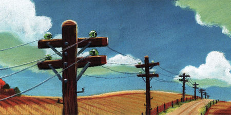Pixar disney artwork concept art drôles d'oiseaux sur une ligne à haute tension for the birds