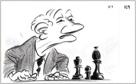 Pixar disney artwork concept art le joueur d'échecs geri's game