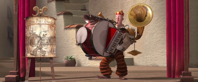 bass homme orchestre one man band personnage character disney pixar