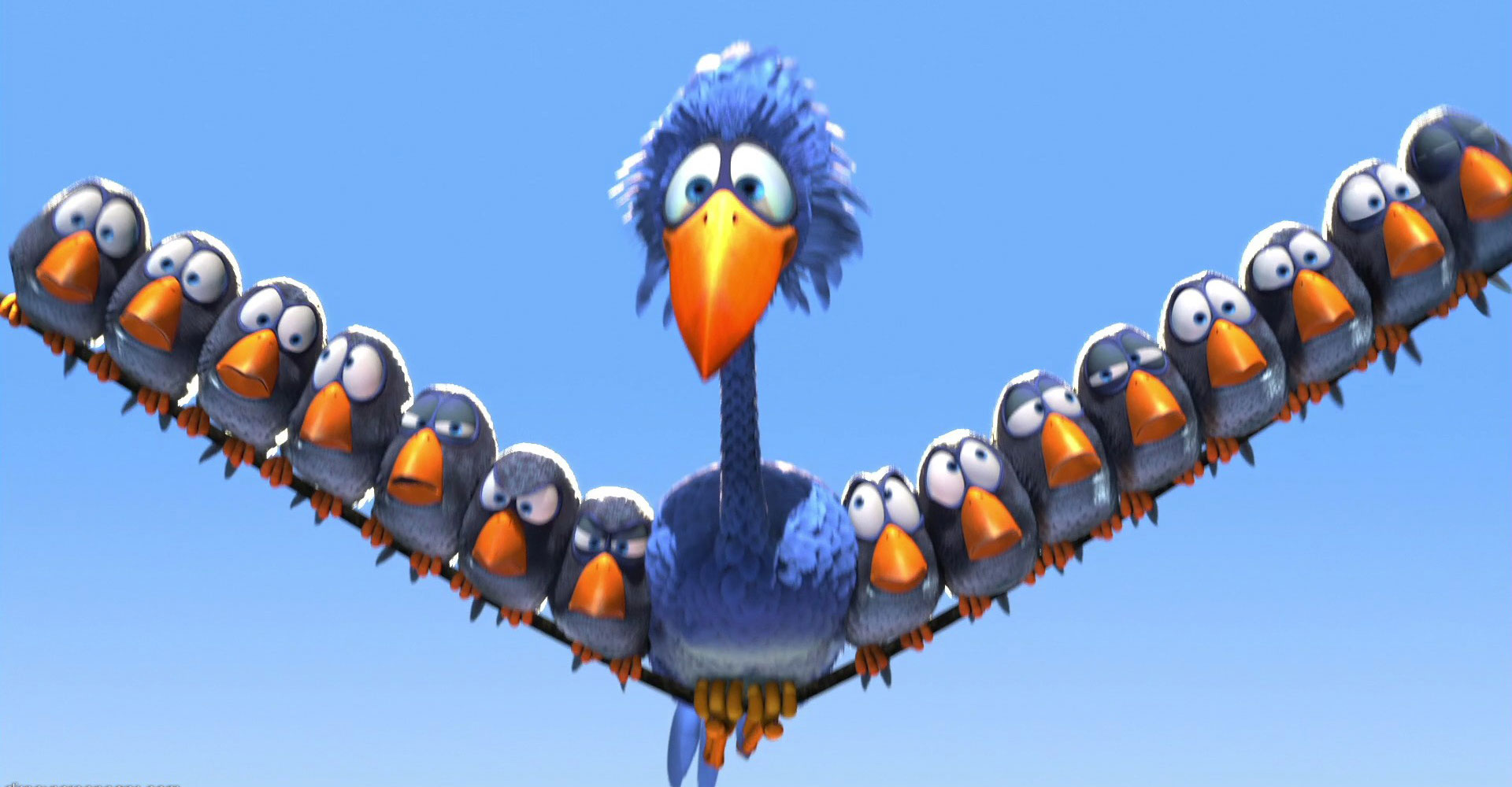 Pixar disney drôles d'oiseaux sur une ligne à haute tension for the birds