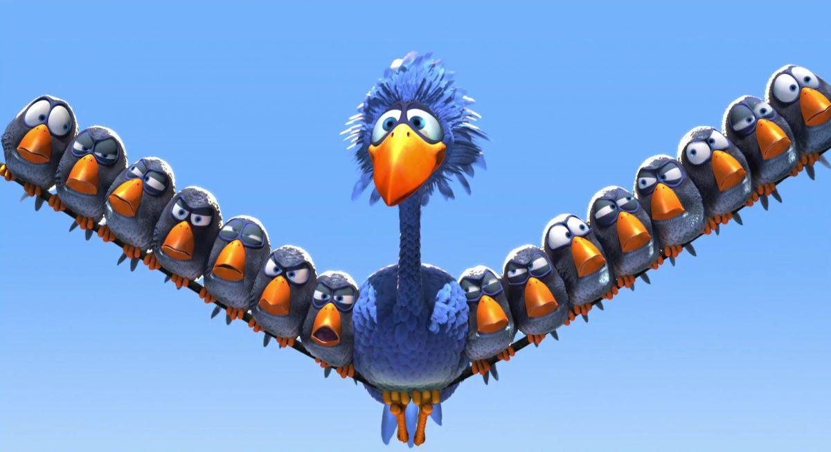 grand oiseau drole ligne haute tension birds personnage character disney pixar