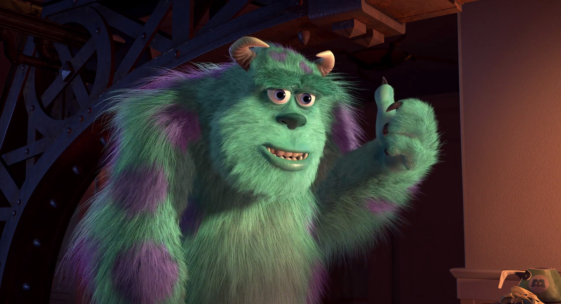 James p sulley sullivan from monsters inc pixar planet to help his friend out sulley pulled a few strings so that mike could book a table at a fancy restaurant for celias birthday voltagebd Image collections