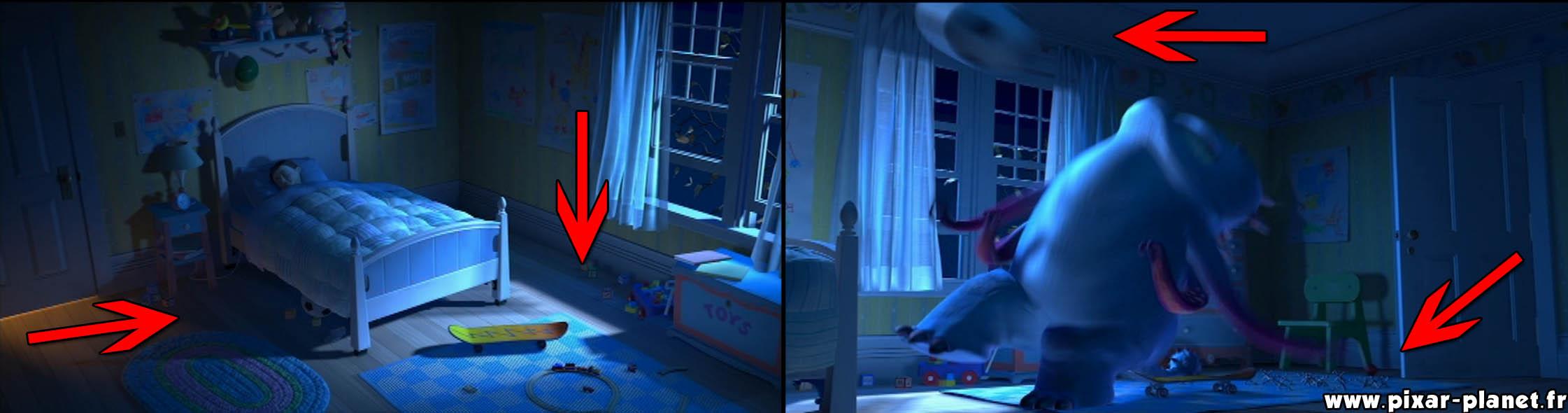 les faux raccords dans monstres cie pixar planet fr. Black Bedroom Furniture Sets. Home Design Ideas