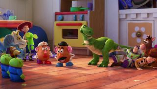 bouton or buttercup personnage character pixar disney toy story toons rex fete roi partysaurus
