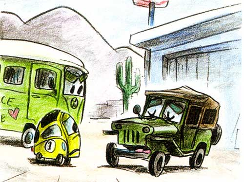yellow car disney pixar