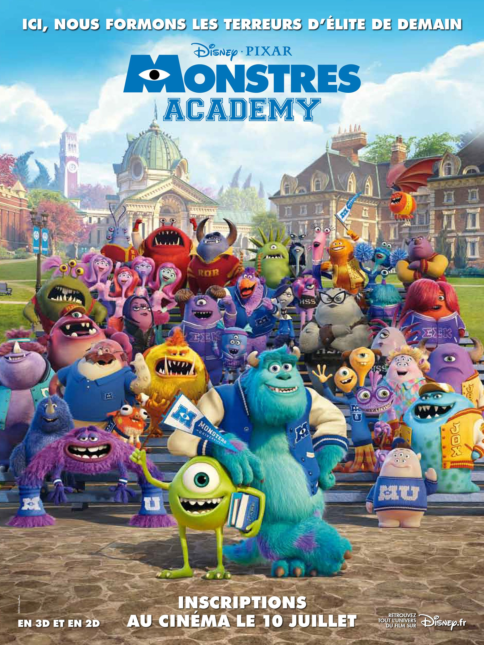 affiche poster monstres academy monsters university disney pixar