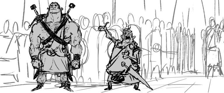 "Une image du storyboard de ""Rebelle""."
