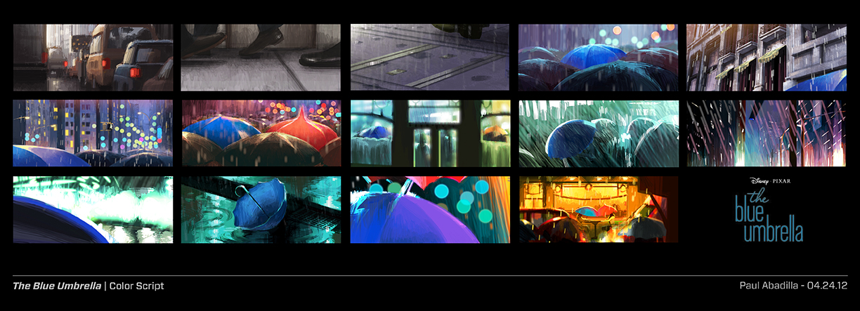Pixar disney le parapluie bleu the blue umbrella artwork concept art