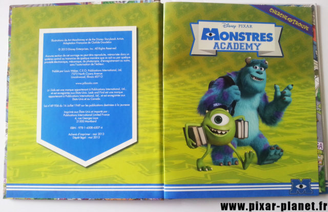 Cherche et Trouve Monstres Academy Livre Disney Pixar Book