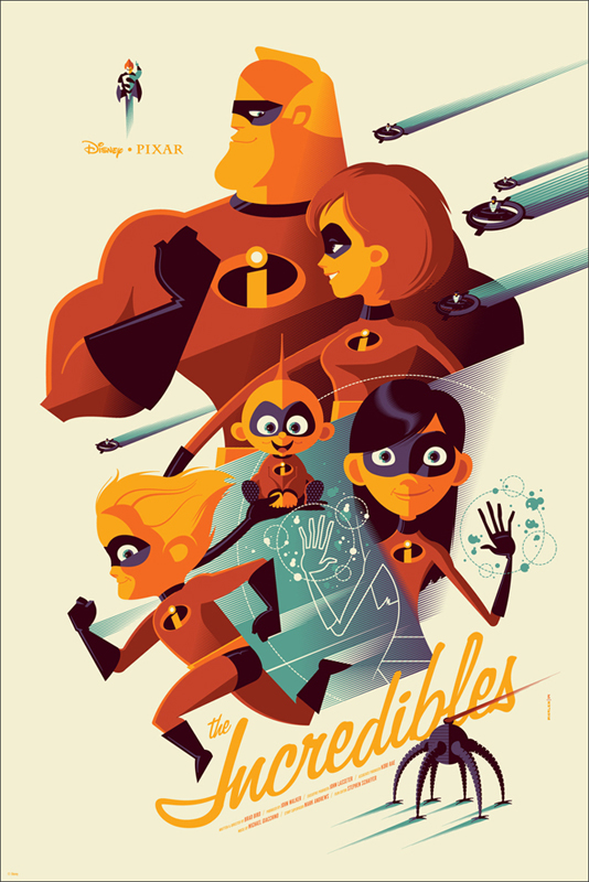 Pixar Disney Tom Whalen Mondo Poster Affiche Indestructibles Incredibles