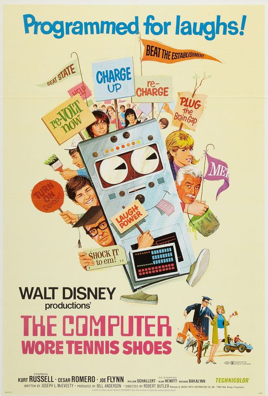 walt disney company walt disney pictures affiche ordinateur folie poster computer wore tennis shoes