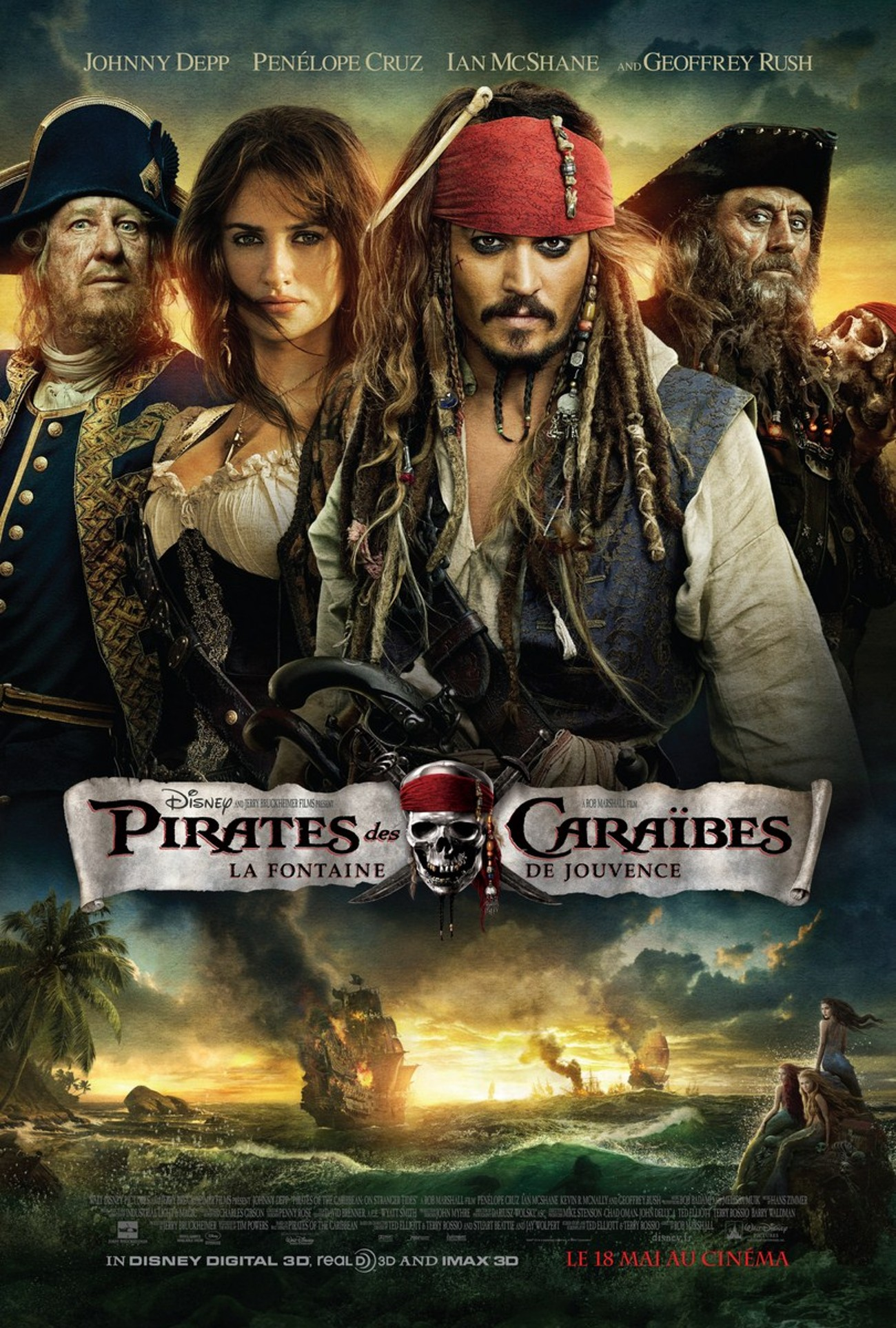 disney pictures pirates caraibes stranger sides fontaine jouvence caribbean affiche poster