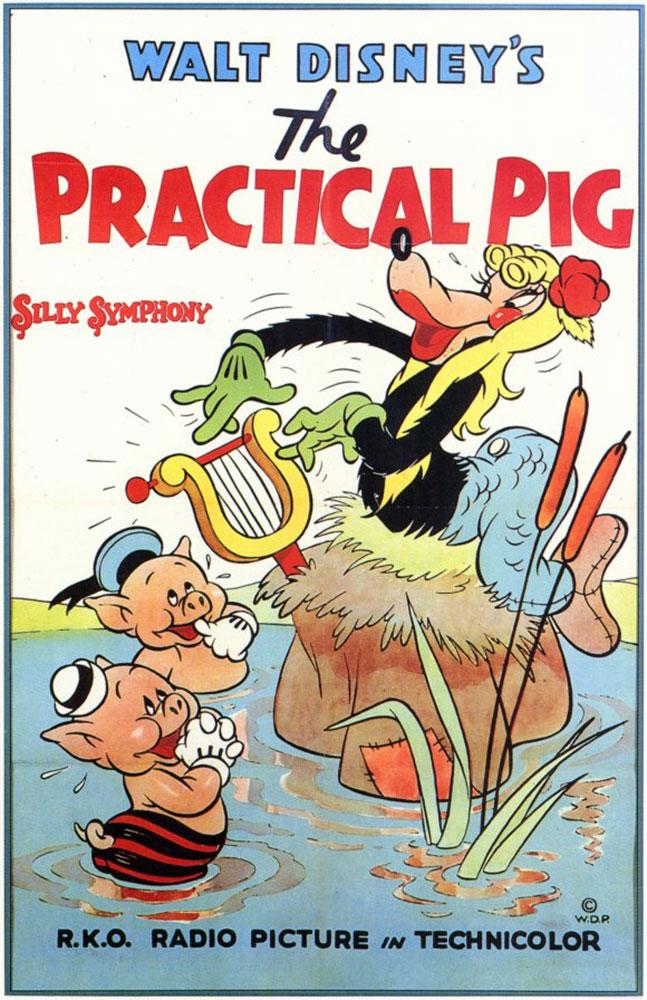 affiche poster cochon pratique practical pig disney silly symphony