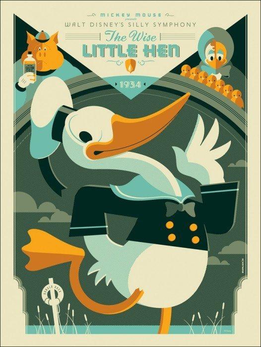 Affiche poster petite poule avisée donald Wise Little Hen disney