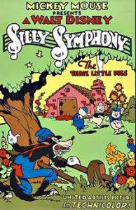 affiche silly symphony trois petits cochons Walt Disney Animation poster