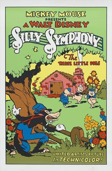 affiche poster trois petits cochons three little pigs disney silly symphony