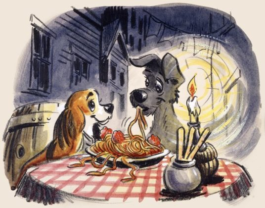 Artwork Concept art La belle et le clochard Disney Poster Lady and the tramp