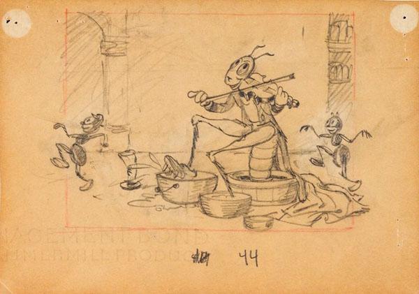 artwork cigale fourmi grasshopper ants disney silly symphony