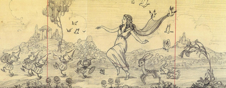 artwork déesse printemps goddess spring disney silly symphony