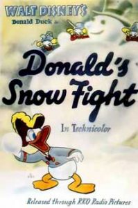 donald bagarreur Walt Disney Animation poster affiche donald snow fight