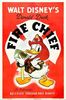 donald capitaine pompier Walt Disney Animation poster affiche donald fire chief