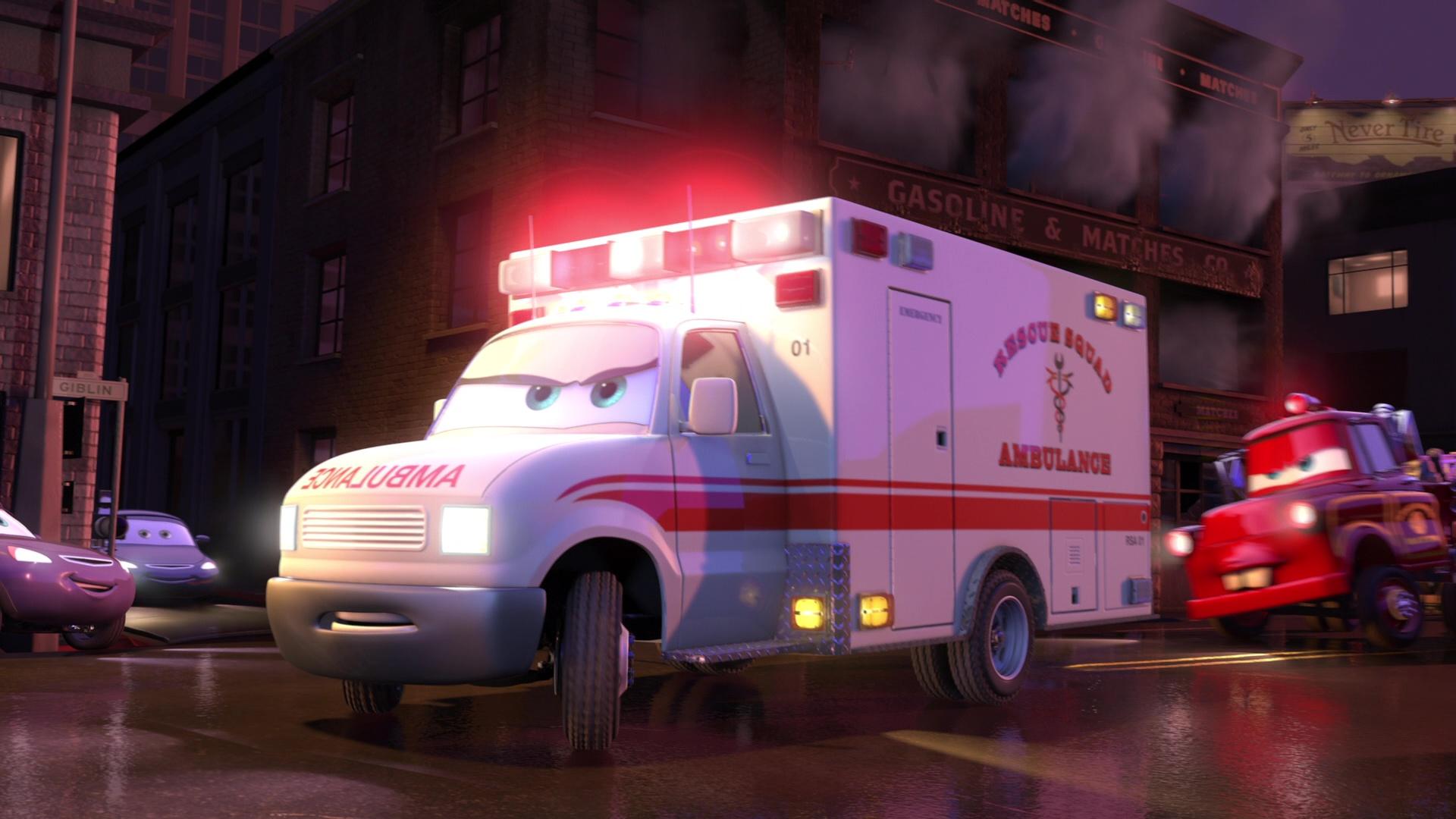 Fr ambulance personnage dans cars toon martin la rescousse en rescue squad ambulance - Cars la coupe internationale de martin ...