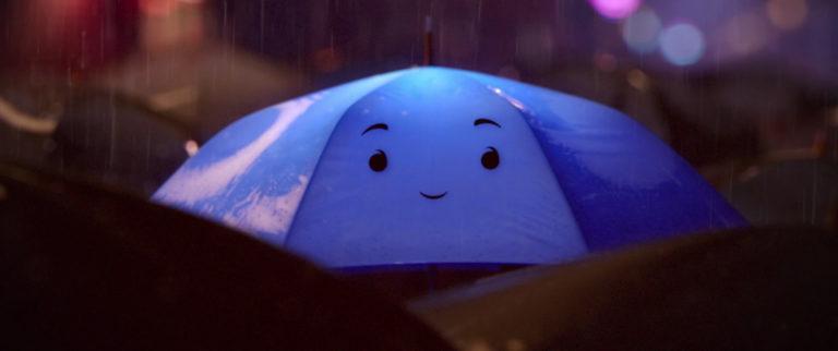 """Blue, personnage dans """"Le Parapluie Bleu""""."""