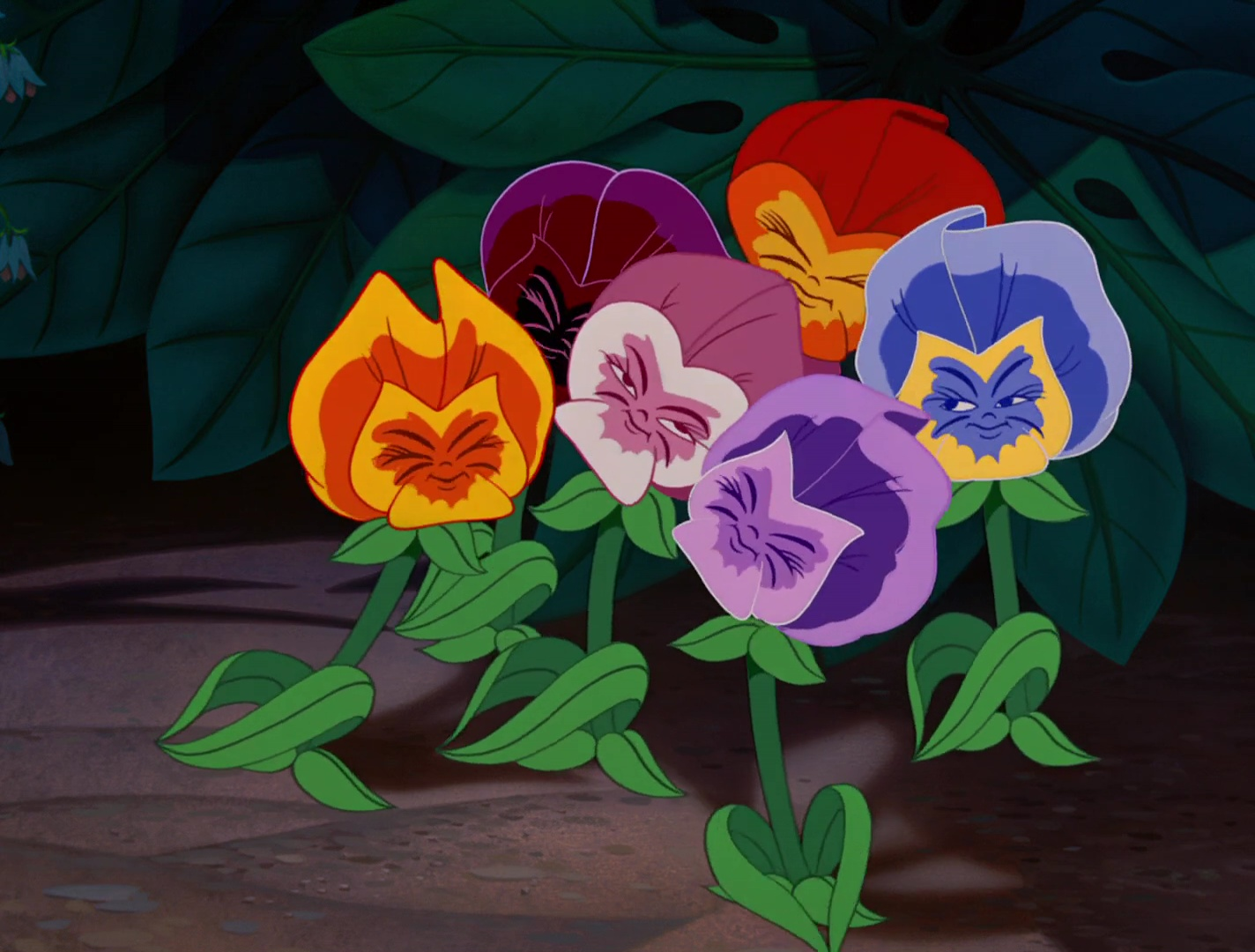 """Les fleurs, personnages dans """"Alice au Pays des Merveilles ..."""