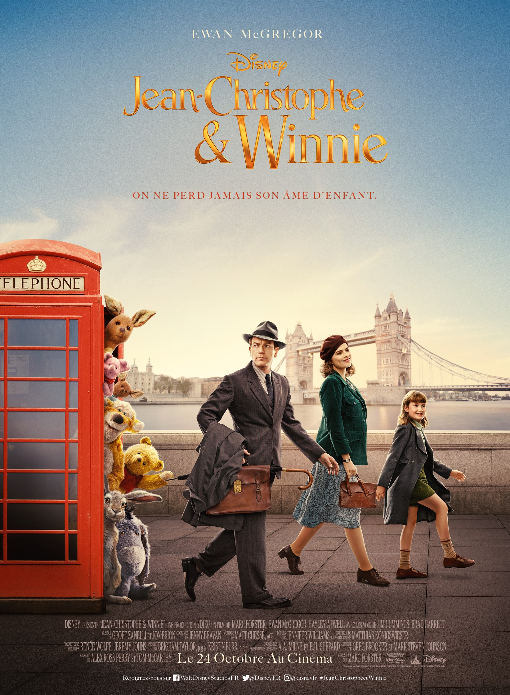 Affiche Poster christopher robin jean christophe winnie disney