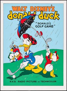 Affiche Poster donald joue golf game disney