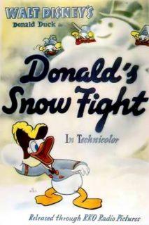 Affiche Poster donald bagarreur snow fight disney