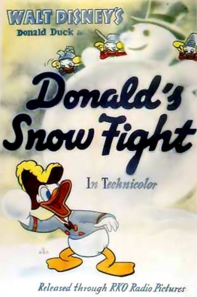 Affiche Poster donald bagarreur snow fight disney