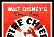 Affiche Poster donald capitaine pompier fire chief disney
