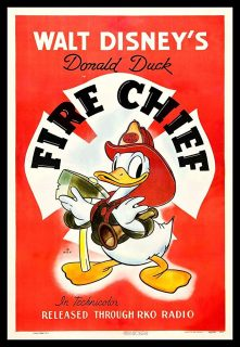 Affiche Poster donald capitaine pompier fire chief disney