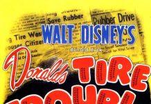 Affiche poster donald creve tire trouble disney