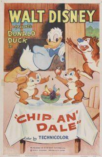 Affiche Poster donald écureuil chip dale disney
