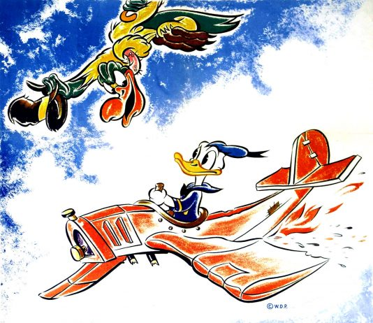 Affiche Poster machine volante donald flying jalopy disney