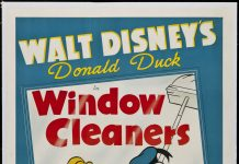 Affiche Poster nettoyeurs carreaux window cleaner donald pluto disney