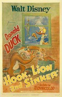 Affiche Poster donald pêcheur hook lion sinker disney