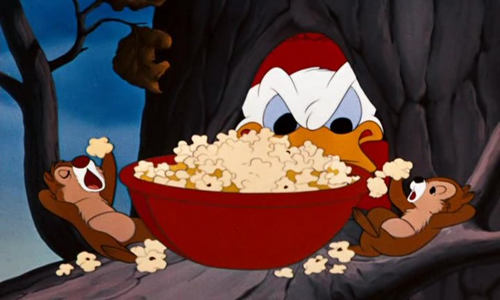 Image partie pop corn chips disney donald