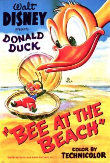 Affiche Poster donald plage bee beach disney