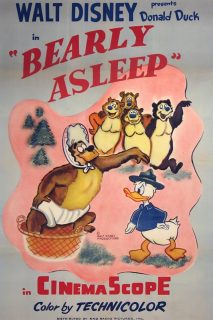 Affiche Poster sommeil ours bearly asleep disney donald